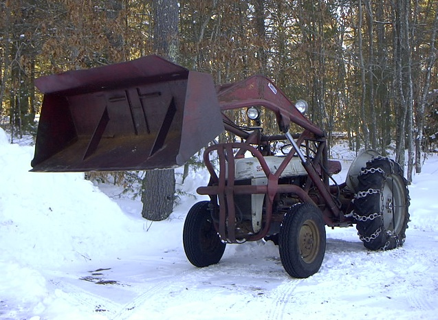 Tractor W Snow Bucket on Tire Chains For 9n Ford Tractor